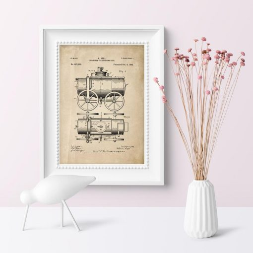 Plakat retro z motywem patentu transportera
