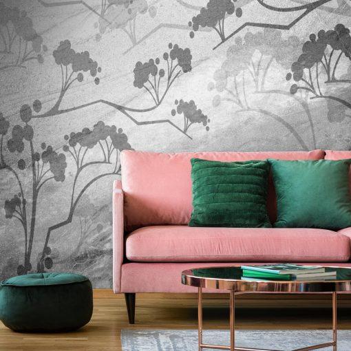 Fototapeta w szarym kolorze z motywem roślinnym
