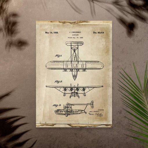 Plakat rycina samolotu - konstrukcja