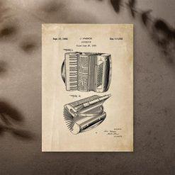 Plakat ze schematem akordeonu Vassos