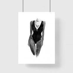 Plakat z kobiecą sylwetką - modelka