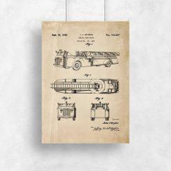 Plakat vintage ze strażą pożarną