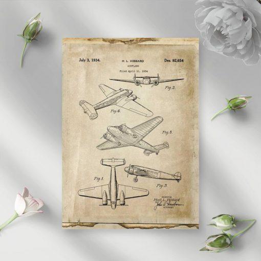 Plakat w sepii z aeroplanem