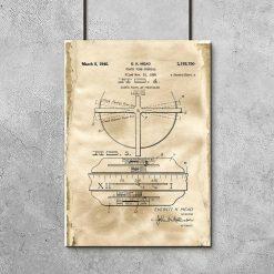 Plakat z rysunkiem opisowym zegara do salonu