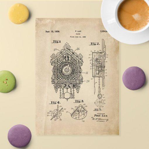 Poster dla kolekcjonera z patentem na zegar z kukułką do jadalni