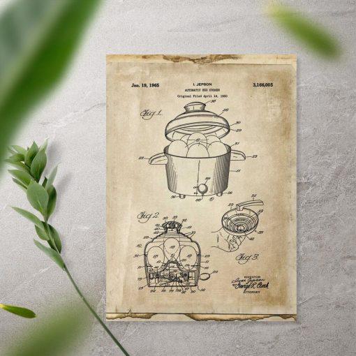 Plakat retro z patentem na garnek do gotowania jajek