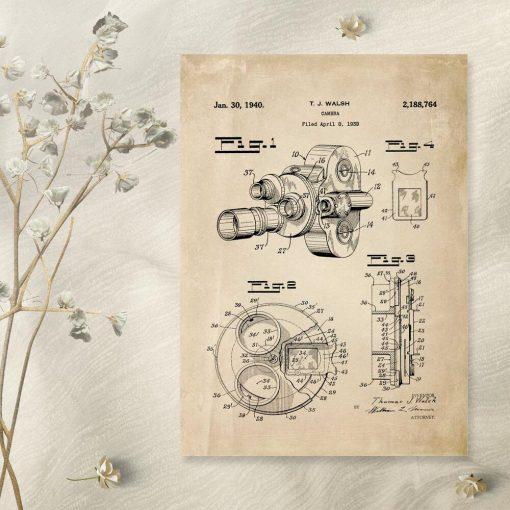 Plakat vintage z licencją do produkcji kamery