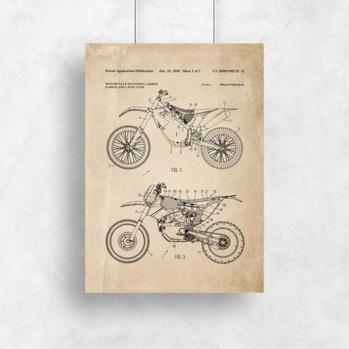 Plakat w stylu vintage z patentem na motocykl crossowy