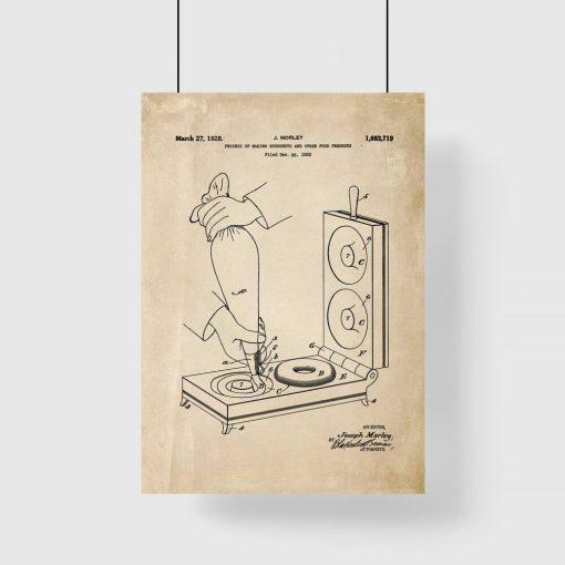 Plakat retro z maszynką do robienia pączków