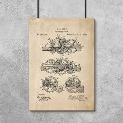Plakat patent na mechanizm kalendarza - 1885r.