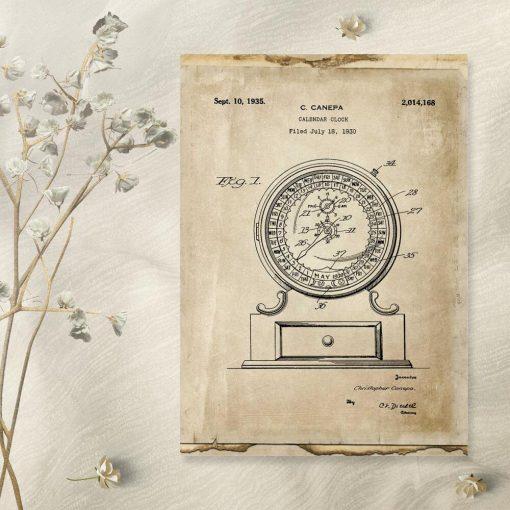 Plakat mechaniczny kalendarz - rycina