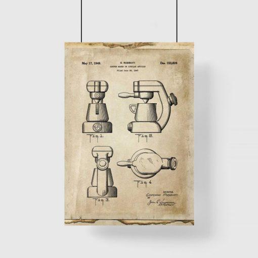 Plakat - Reprodukcja rysunku z ekspresem do kawy do kawiarni