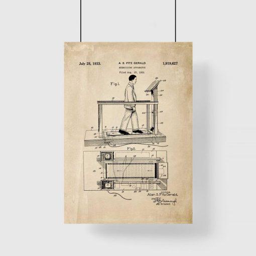 Plakat z rysunkiem opisowym bieżni do siłowni