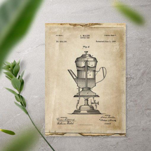 Plakat pierwszy ekspres do kawy - patent 1890r.