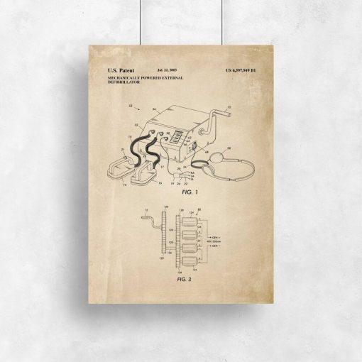 Plakat z ryciną patentu na defibrylator przenośny