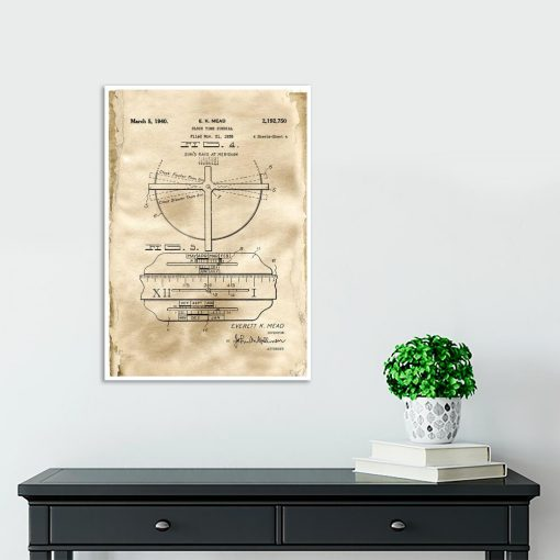 Plakat z rysunkiem opisowym zegara do przedpokoju