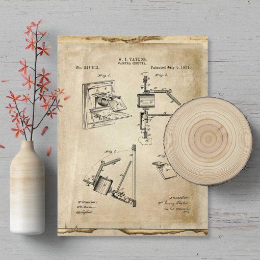 Plakat z patentem na camerę obscura