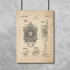 Poster dla kolekcjonera z patentem na zegar z kukułką do gabinetu