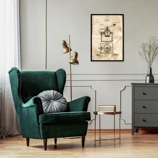 Plakat - Rysunek opisowy młynka do kawy do restauracji