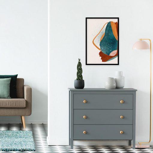 Artystyczny plakat z pomarańczową plamą do pokoju