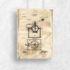 Plakat - Rysunek opisowy młynka do kawy do kawiarni