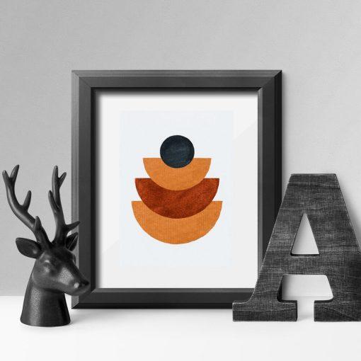Plakat figury geometryczne z pomarańczowym kolorze