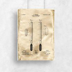Plakat z termometrem - patent 1899r. do powieszeni w szpitalu