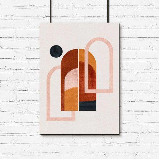 Plakat z oknami i czarną kropką do dekoracji poczekalni