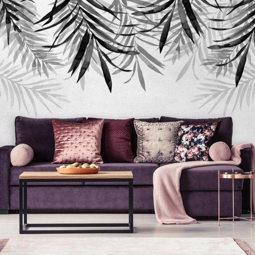 Tapeta do salonu z roślinami w kolorze szarym