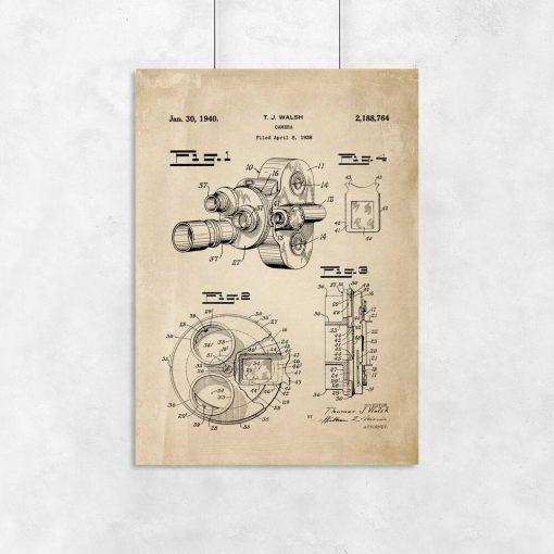 Plakat urządzenie do kręcenia filmów - patent