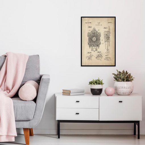 Poster dla kolekcjonera z patentem na zegar z kukułką do salonu