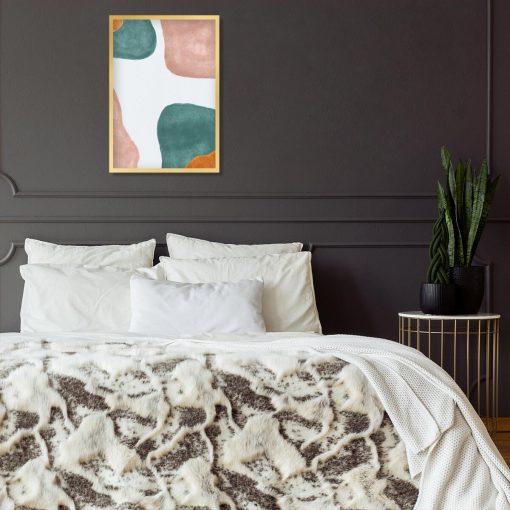 Pastelowy plakat z beżowymi plamami do sypialni