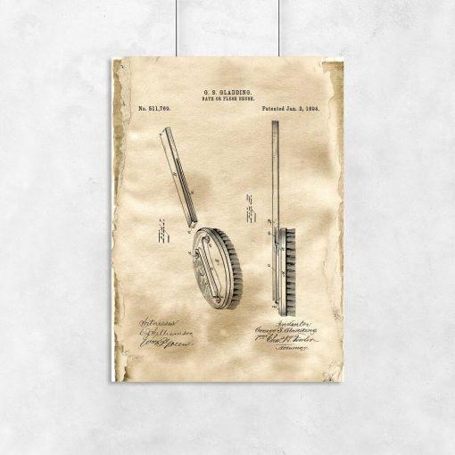Plakat z rysunkiem opisowym szczotki do salonu