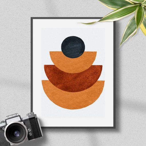 Plakat z kulą i półkolami w kolorze musztardowym