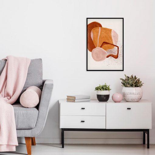 Abstrakcyjny plakat z brązową akwarelą do jadalni