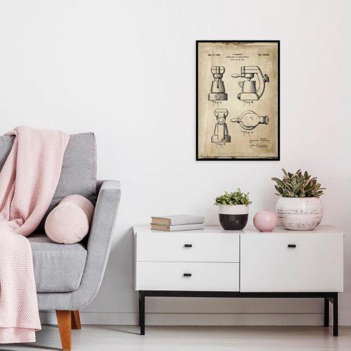 Plakat - Reprodukcja rysunku z ekspresem do kawy do kuchni