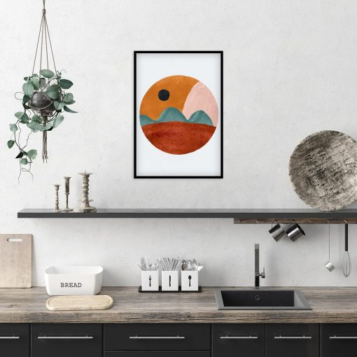 Plakat z brązowo - beżową abstrakcją do kuchni