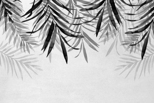 Tapeta z motywem szarych liści palmy