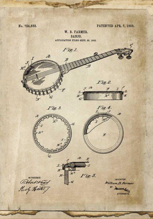 Plakat retro z rysunkiem banjo do biura