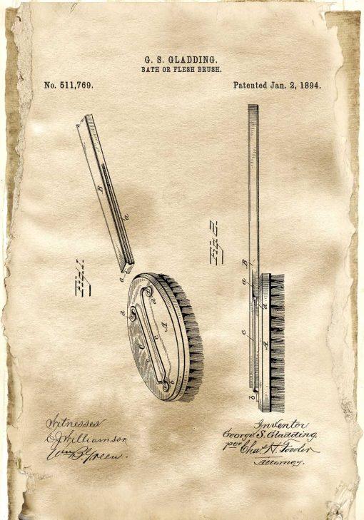 Plakat z rysunkiem opisowym szczotki gabinetu