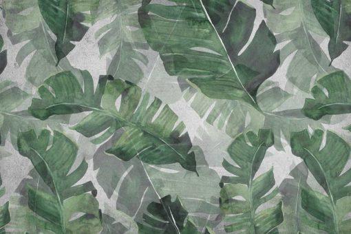 Tapeta zielone liście z dżungli do dekoracji sypialni