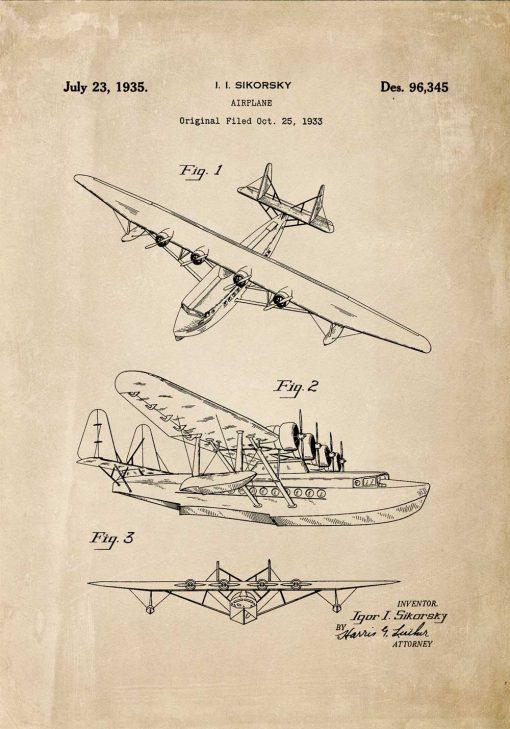 Plakat z projektem na samolot górnopłatowy