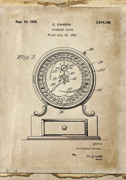 Plakat patent na kalendarz - koncepcja budowy