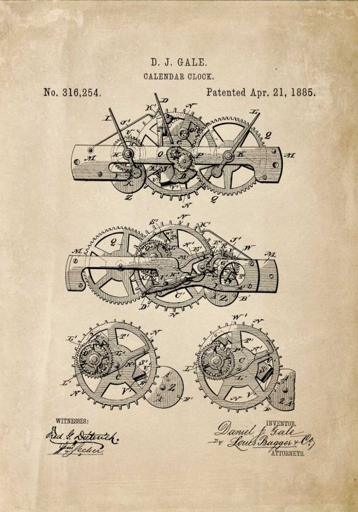 Beżowy plakat z patentem na budowę mechanizmu kalendarza