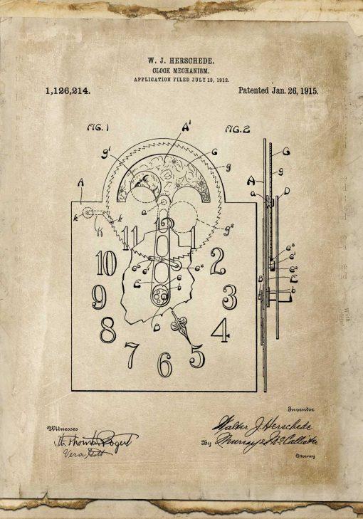 Plakat z patentem na zegar mechaniczny do kawiarni