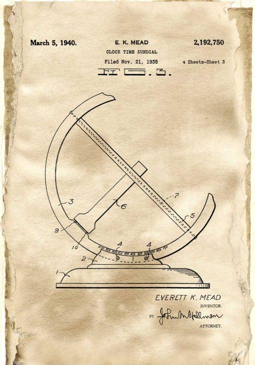Plakat z rysunkiem patentowym zegara - Reprodukcja do gabinetu
