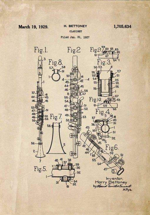 Poster ze świadectwem produkcji klarnetu