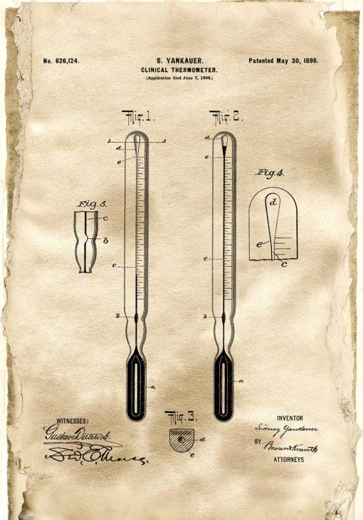 Plakat termometr kliniczny - rycina z 1899r.