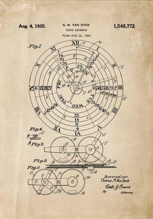 Plakat ze schematem budowy kalendarza zegarowego
