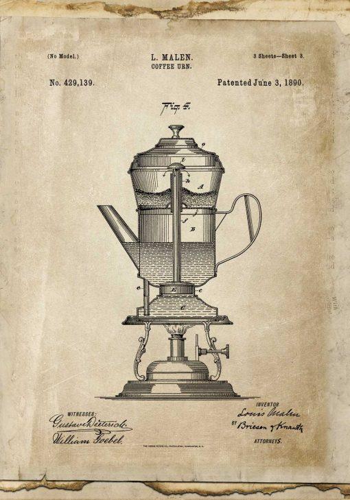 Plakat rysunek patentowy kawiarki